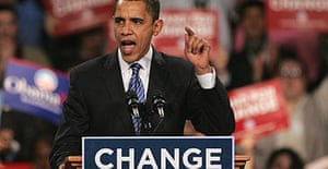 Barack Obama addresses supporters during his caucus night rally at Hy-Vee Hall in Des Moines, Iowa.