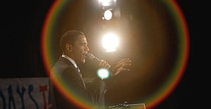 Barack Obama addresses a rally in the auditorium of Salem high school, New Hampshire.