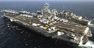 American warships on patrol in the Gulf over the weekend