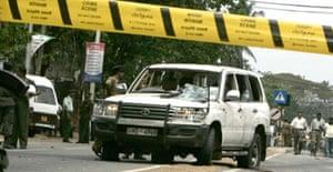 The scene of the bomb that killed Sri Lankan minister DM Dassanayake in Ja Ela