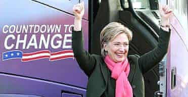 Hillary Clinton waves as she arrives for a visit to a polling site at a school in Concord,  New Hampshire.