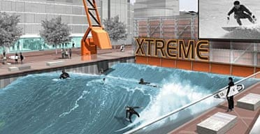 Surfing pool on the banks of the river Thames.