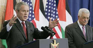 US president George Bush and Palestinian president Mahmoud Abbas hold a joint news conference in the West Bank city of Ramallah