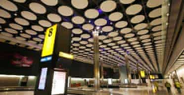 Baggage reclaim hall in the new Terminal 5, Heathrow Airport, London