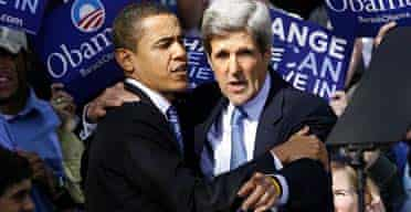 Barack Obama and former presidential candidate John Kerry