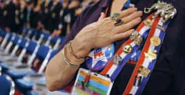 A delegate holds her hand over her heart during the recitation of the Pledge of Allegiance at the 2004 Republican National Convention. Photograph: Roberto Schmidt/AFP/Getty Images