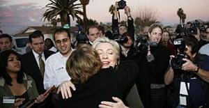 Senator Hillary Clinton hugs a supporter.