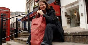 Writer Harriet Lane shopping with her ethical wheelie shopping bag in Kensington, London