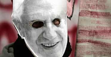 A student wears a mock mask of Pope Benedict XVI as he protests at La Sapienza University in Rome