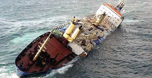 The stricken cargo ship Ice Prince before it sank