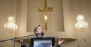 Hillary Clinton speaks at Citizens of Zion Missionary Baptist church in Compton, California.
