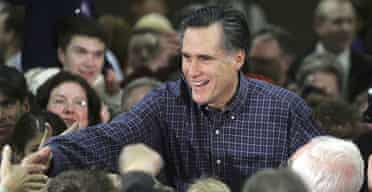 Mitt Romney greets supporters at a campaign stop in Reno, Nevada.