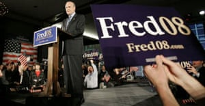 Fred Thompson addresses supporters in South Carolina. Photograph: Mary Ann Chastain/AP