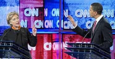 Democratic presidential hopefuls Hillary Clinton Barack Obama exchange comments during the Democratic Presidential Primary debate in Myrtle Beach, South Carolina