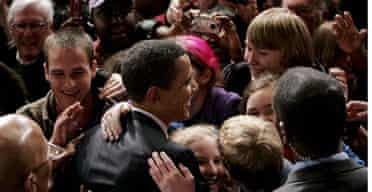 Barack Obama shakes hands with supporters in Charleston, South Carolina