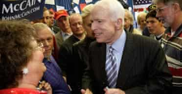 John McCain campaigns in Polk City, Florida. Photograph: Alex Wong/Getty Images