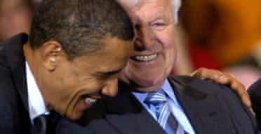 Barack Obama hugs Edward Kennedy