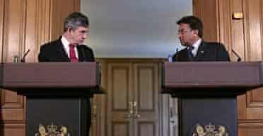 Gordon Brown and Pervez Musharraf