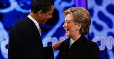 Barack Obama and Hillary Clinton at the Kodak Theatre, Los Angeles