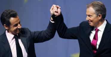 France's President Nicolas Sarkozy and former British prime minister Tony Blair