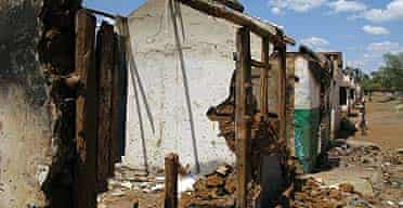 Destroyed homes belonging to members of the Kikuyu tribe in Rift Valley, Kenya