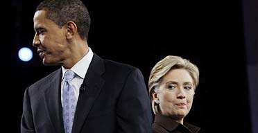 Hillary Clinton and Barack Obama during a Democratic debate at the Kodak Theater in Los Angeles