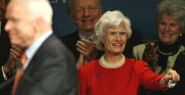 John McCain, his mother Roberta and Joe Lieberman in Phoenix on the night of Super Tuesday