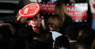A Romney supporter in Boston