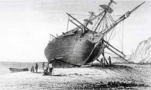 Scene of the Beagle being repaired
