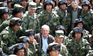Kim Howells with troops of the High Mountain Battalion of the Colombian Army including General Mario Montoya (behind him and left of Howells)