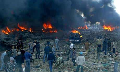 The scene of a car bomb explosion in Beirut on February 14, 2005, which killed Lebanon's former prime minister Rafik al-Hariri on Beirut's waterfront