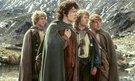 Dominic Monaghan as Merry, Elijah Wood as Frodo, Billy Boyd as Pippin and Sean Astin as Sam in a scene from The Lord of the Rings: Fellowship of the Ring