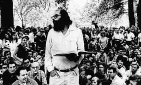 Allen Ginsberg reads one of his poems to the assembled crowd in Washington Square Park. Photograph: AP