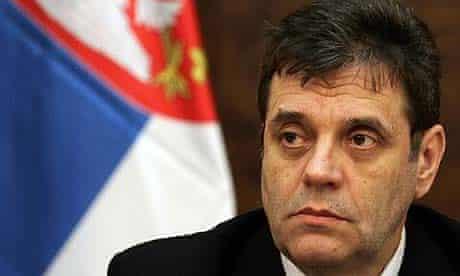 Serbian prime minister Vojislav Kostunica attends a government session in Belgrade