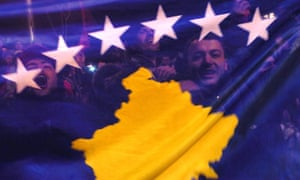 Kosovans celebrate with their new flag