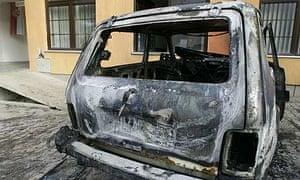A UN car destroyed in an explosion in Zubin Potok, northern Kosovo