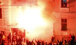 US embassy rally fire protest Belgrade Kosovo