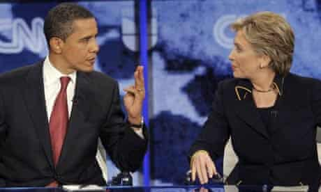 Barack Obama and Hillary Clinton respond to a question during a Democratic presidential debate in Austin, Texas. Photograph: LM Otero/AP