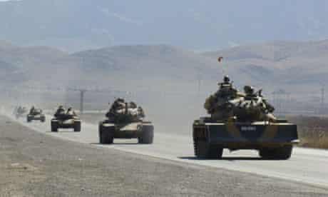 Turkish tanks in south-east Turkey, preparing to enter Iraq
