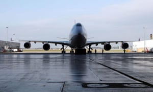 Virgin Atlantic's 747 plane at Heathrow airport ready to take off to Amsterdam for the first biofuel flight by an airline