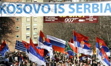 Kosovo Serbs protest at Kosovo independence in the town of Kosovska Mitrovica on Monday february 25 2008