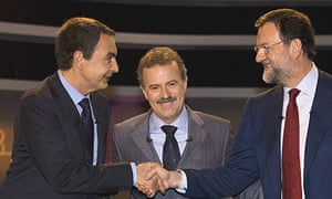 Spanish candidates clash on key election issues in televised debate the leader of the opposition popular party mariano rajoy greet each other at the m4hsunfo