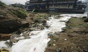 Sewage water drains into the Yangtze River.