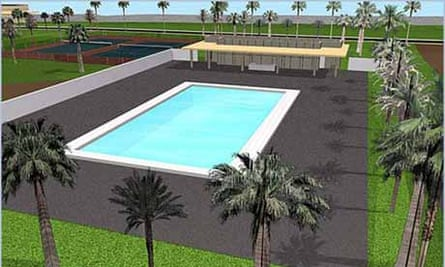 This computer generated architectural rendering recently posted on the architect's web site reportedly shows the pool house in the American Embassy complex in Baghdad, Iraq, currently under construction. Photograph: AP