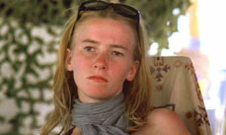 Peace activist Rachel Corrie is shown at the Burning Man festival in a photo from September 2002, in Black Rock City, Nevada