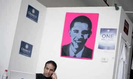 A poster of Barack Obama in Toledo, Ohio