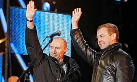 Russian president Vladimir Putin and his successor Dmitry Medvedev in Red Square in Moscow