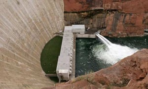 The base of Glen Canyon Dam in Page, Arizona. Photograph: Jeff Topping/Getty