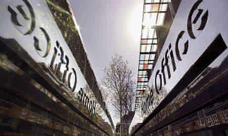 A reflective sign displays the name of the Home Office in Marsham Street, London