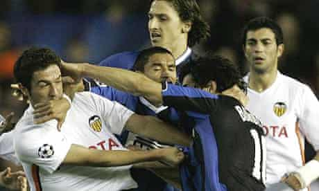 Players' tempers fray during last year's Champion's League clash between Inter Milan and Valencia